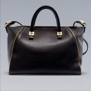ZARA BLACK GENUINE LEATHER TOTE WITH GOLD HARDWARE